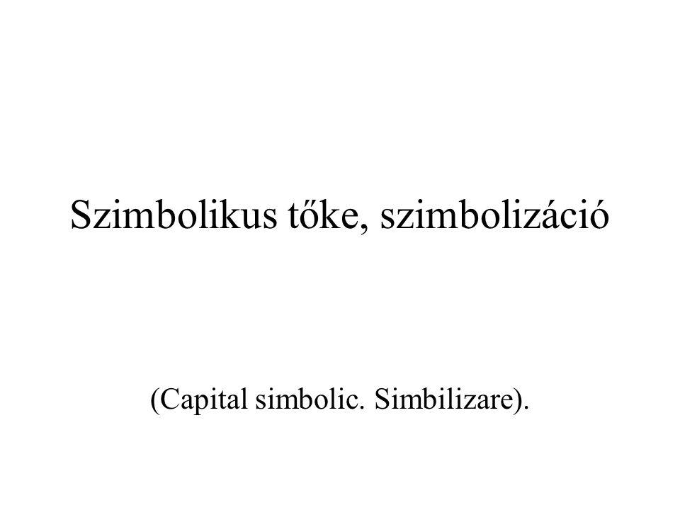 Szimbolikus tőke, szimbolizáció (Capital simbolic. Simbilizare).