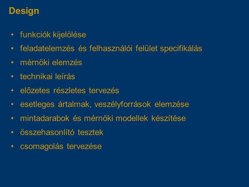 Design funkciók kijelölése feladatelemzés és felhasználói felület specifikálás mérnöki elemzés technikai leírás előzetes részletes tervezés esetleges ártalmak, veszélyforrások elemzése mintadarabok és mérnöki modellek készítése összehasonlító tesztek csomagolás tervezése