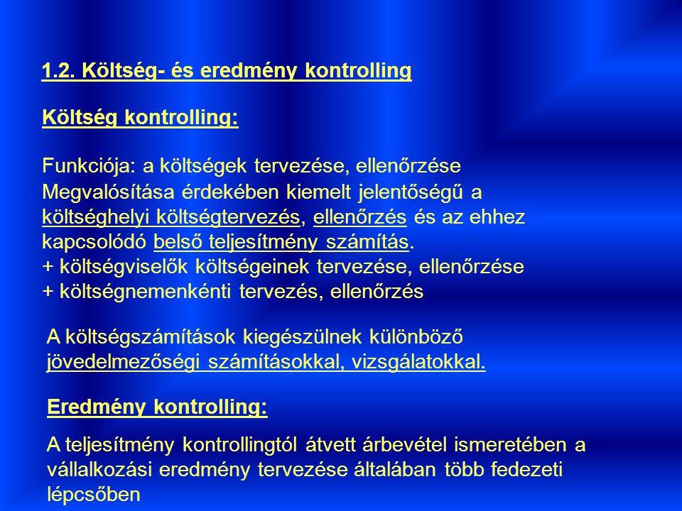 1. A vállalkozási funkcióknak megfelelő kontrolling rendszerek bemutatása 1.1. Teljesítmény kontrolling Elsősorban a termelő tevékenységet folytató vá