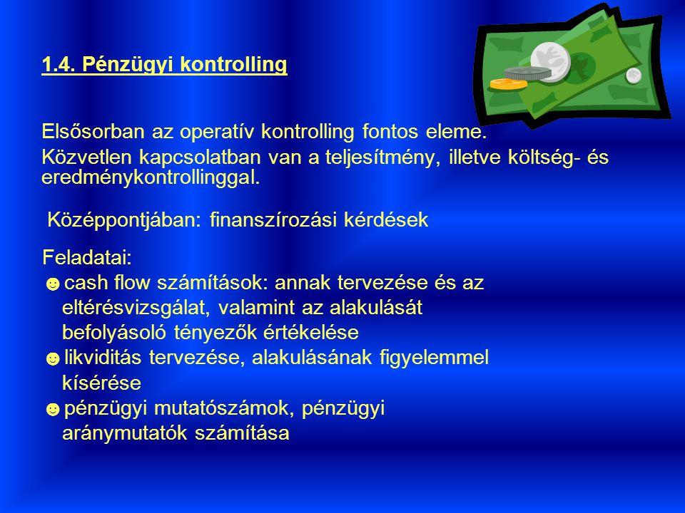 1.4.Pénzügyi kontrolling Elsősorban az operatív kontrolling fontos eleme.