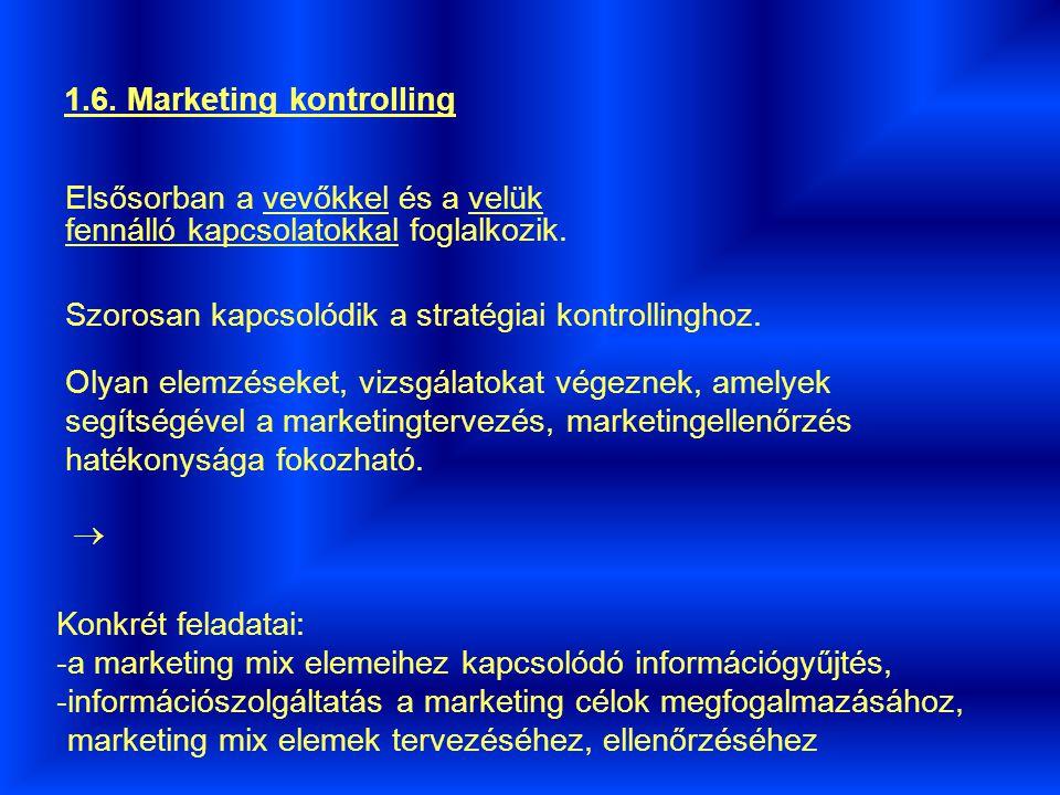 1.6.Marketing kontrolling Elsősorban a vevőkkel és a velük fennálló kapcsolatokkal foglalkozik.