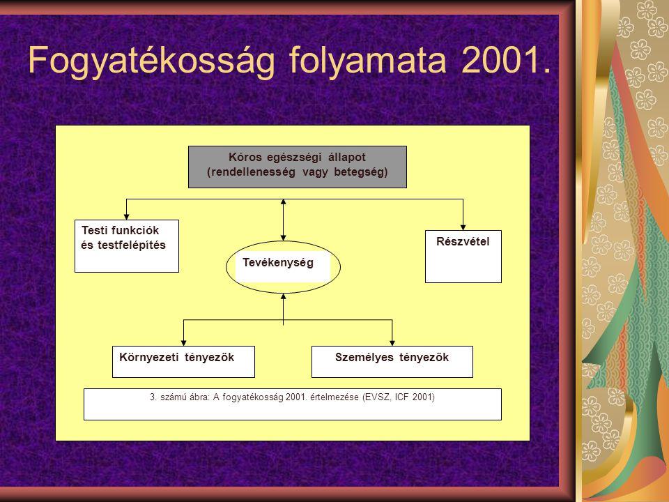 Fogyatékosság folyamata 2001. Kóros egészségi állapot (rendellenesség vagy betegség) Testi funkciók és testfelépítés Tevékenység Részvétel Környezeti