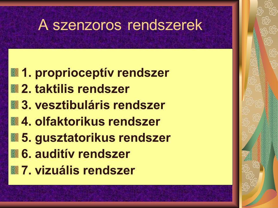 A szenzoros rendszerek 1. proprioceptív rendszer 2. taktilis rendszer 3. vesztibuláris rendszer 4. olfaktorikus rendszer 5. gusztatorikus rendszer 6.