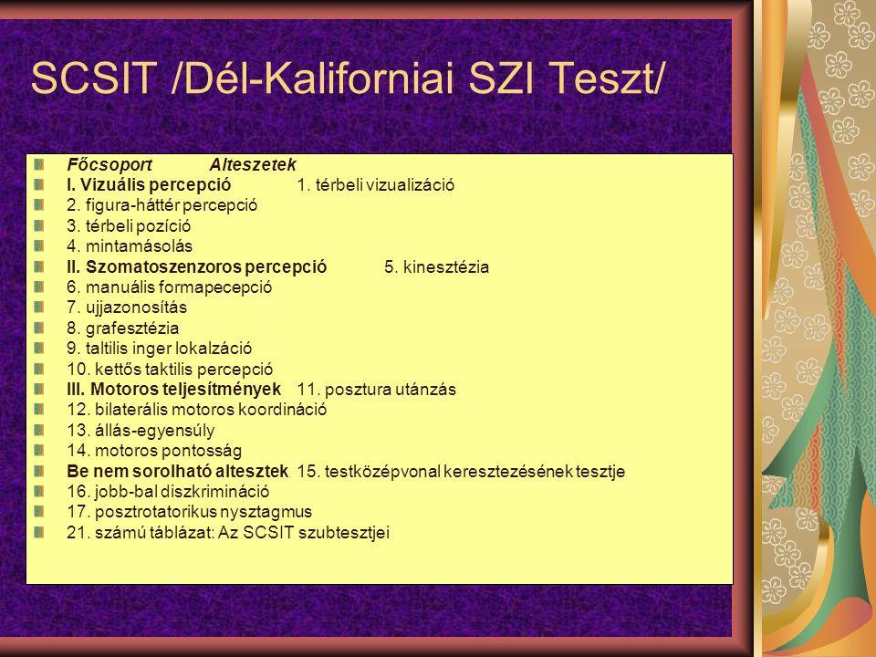 SCSIT /Dél-Kaliforniai SZI Teszt/ FőcsoportAlteszetek I.