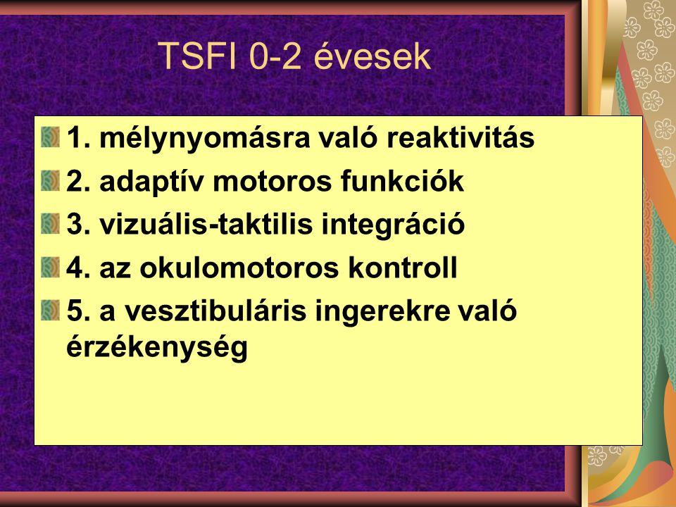 TSFI 0-2 évesek 1. mélynyomásra való reaktivitás 2. adaptív motoros funkciók 3. vizuális-taktilis integráció 4. az okulomotoros kontroll 5. a vesztibu