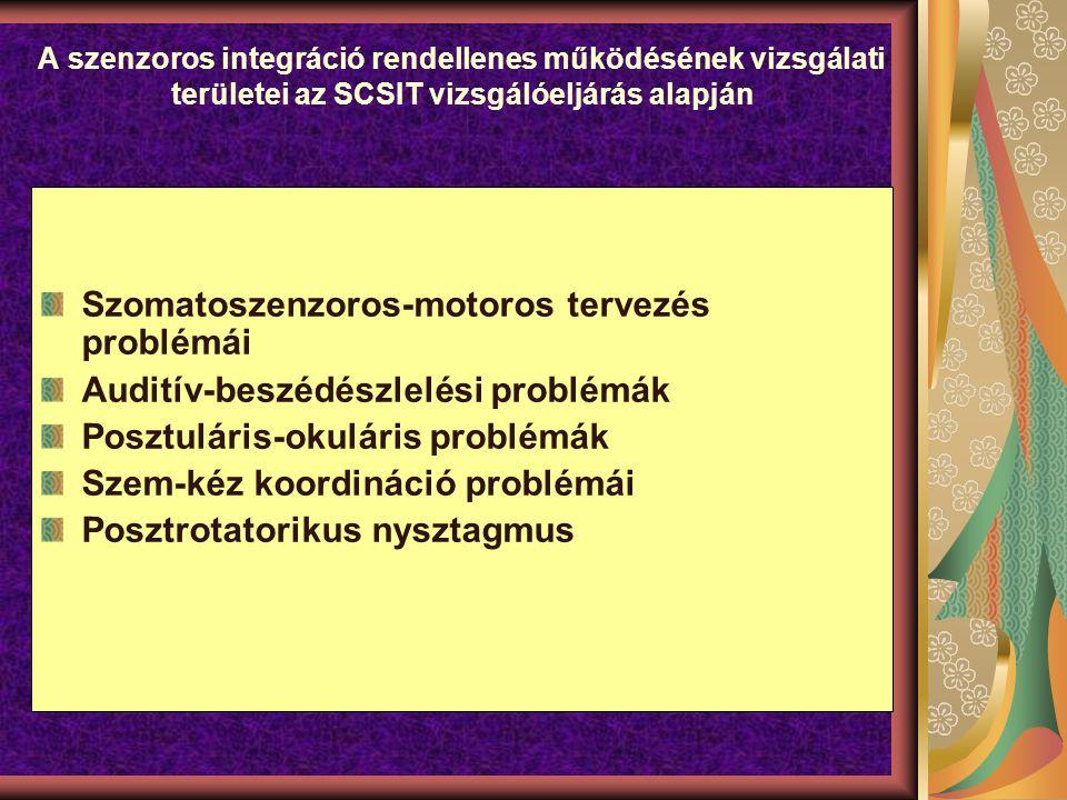 A szenzoros integráció rendellenes működésének vizsgálati területei az SCSIT vizsgálóeljárás alapján Szomatoszenzoros-motoros tervezés problémái Auditív-beszédészlelési problémák Posztuláris-okuláris problémák Szem-kéz koordináció problémái Posztrotatorikus nysztagmus