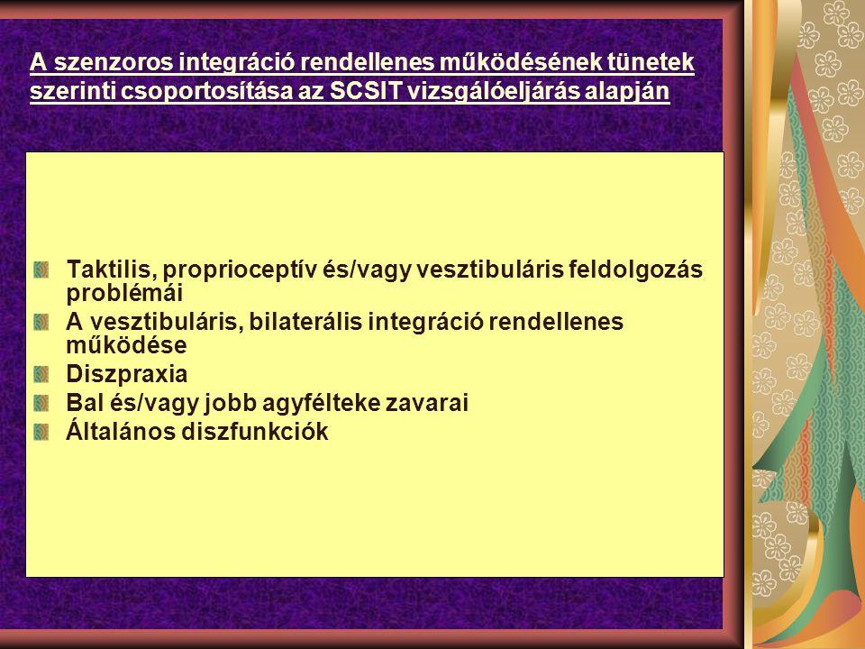 A szenzoros integráció rendellenes működésének tünetek szerinti csoportosítása az SCSIT vizsgálóeljárás alapján Taktilis, proprioceptív és/vagy vesztibuláris feldolgozás problémái A vesztibuláris, bilaterális integráció rendellenes működése Diszpraxia Bal és/vagy jobb agyfélteke zavarai Általános diszfunkciók