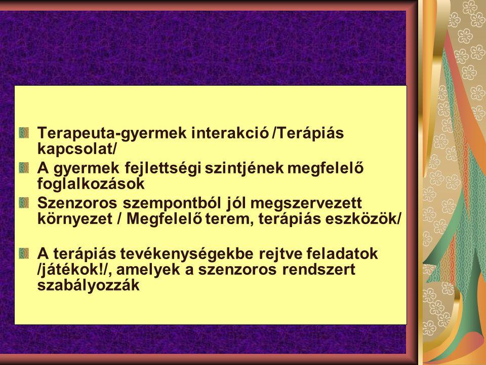 Terapeuta-gyermek interakció /Terápiás kapcsolat/ A gyermek fejlettségi szintjének megfelelő foglalkozások Szenzoros szempontból jól megszervezett környezet / Megfelelő terem, terápiás eszközök/ A terápiás tevékenységekbe rejtve feladatok /játékok!/, amelyek a szenzoros rendszert szabályozzák