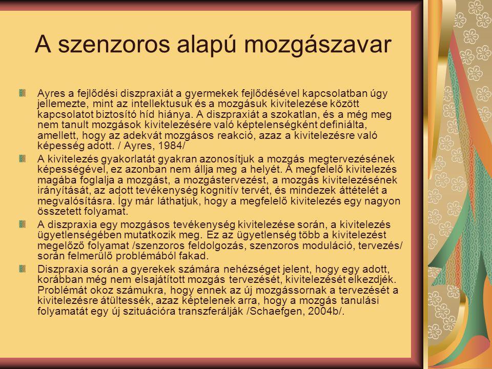 A szenzoros alapú mozgászavar Ayres a fejlődési diszpraxiát a gyermekek fejlődésével kapcsolatban úgy jellemezte, mint az intellektusuk és a mozgásuk