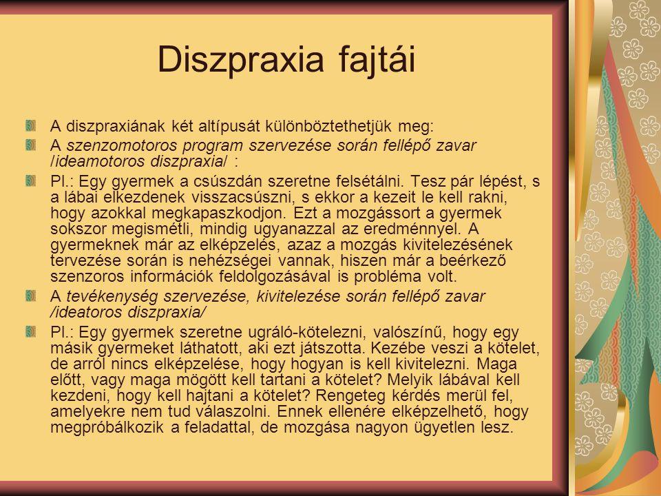 Diszpraxia fajtái A diszpraxiának két altípusát különböztethetjük meg: A szenzomotoros program szervezése során fellépő zavar /ideamotoros diszpraxia/ : Pl.: Egy gyermek a csúszdán szeretne felsétálni.