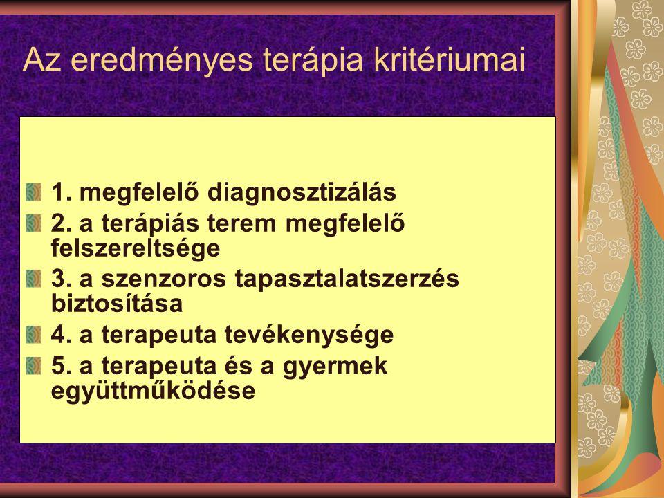 Az eredményes terápia kritériumai 1. megfelelő diagnosztizálás 2. a terápiás terem megfelelő felszereltsége 3. a szenzoros tapasztalatszerzés biztosít