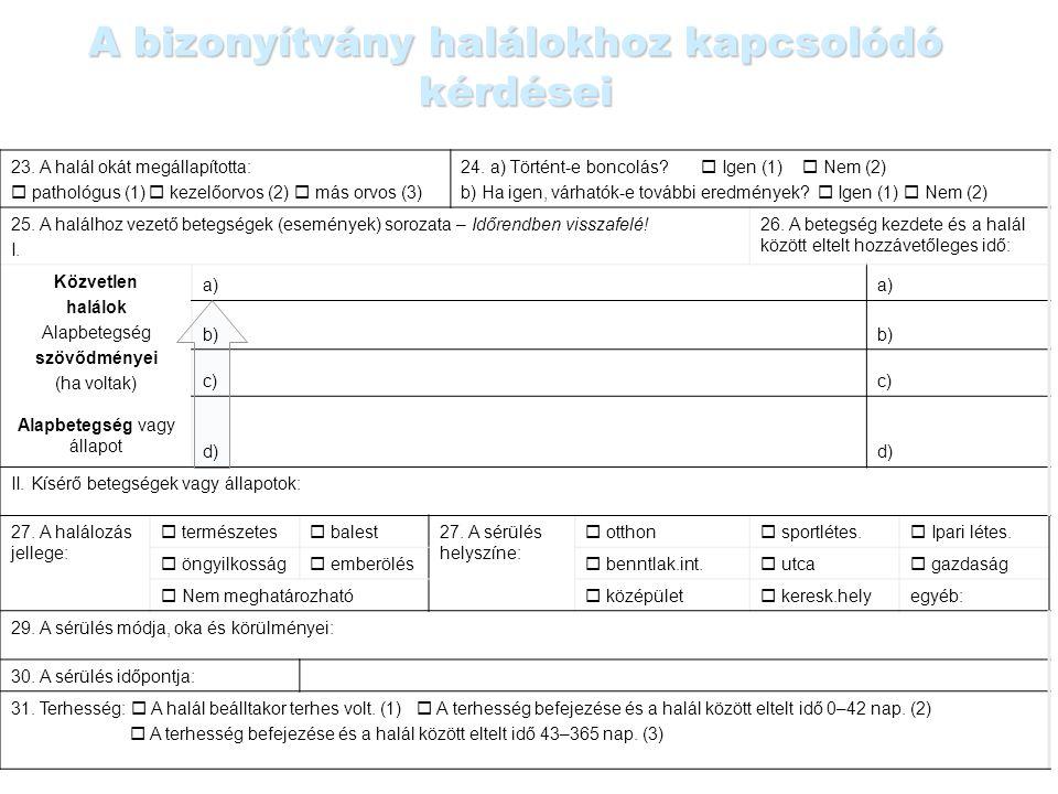 A bizonyítvány halálokhoz kapcsolódó kérdései 23. A halál okát megállapította:  pathológus (1)  kezelőorvos (2)  más orvos (3) 24. a) Történt-e bon