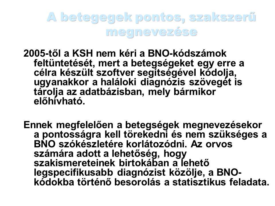 A betegegek pontos, szakszerű megnevezése 2005-től a KSH nem kéri a BNO-kódszámok feltüntetését, mert a betegségeket egy erre a célra készült szoftver