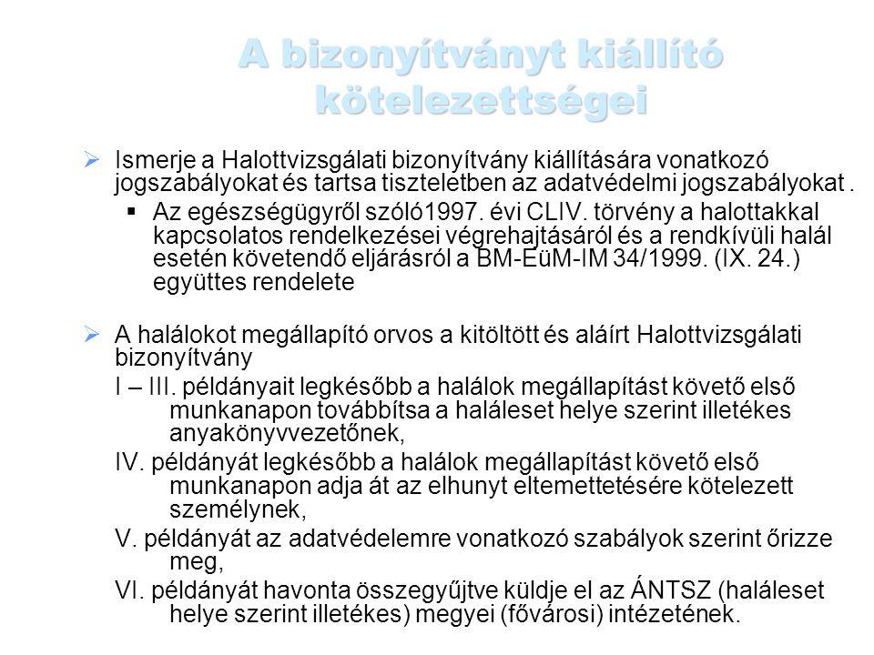 A bizonyítvány halálokhoz kapcsolódó kérdései 23.