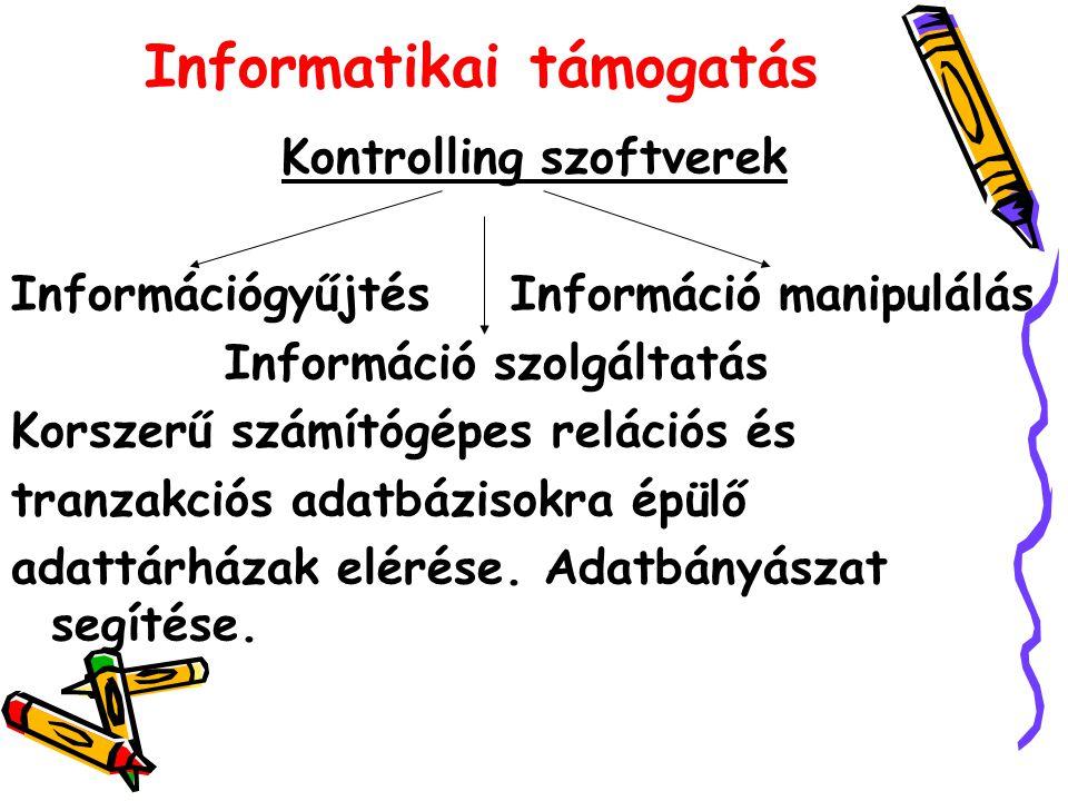 Informatikai támogatás Kontrolling szoftverek Információgyűjtés Információ manipulálás Információ szolgáltatás Korszerű számítógépes relációs és tranzakciós adatbázisokra épülő adattárházak elérése.