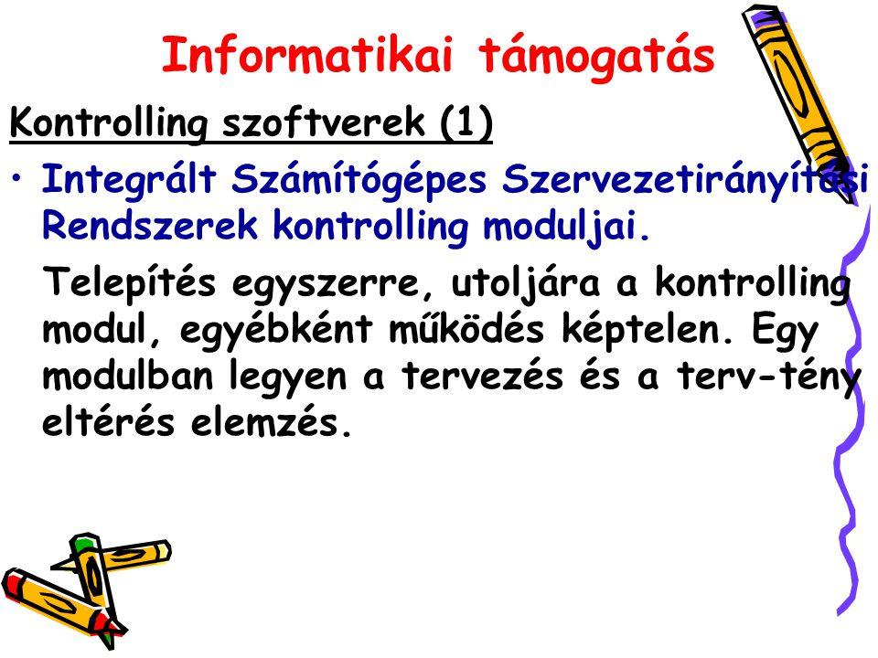 Informatikai támogatás Kontrolling szoftverek (1) Integrált Számítógépes Szervezetirányítási Rendszerek kontrolling moduljai. Telepítés egyszerre, uto