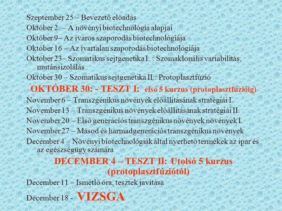 Szeptember 25 – Bevezető előadás Október 2. – A növényi biotechnológia alapjai Október 9– Az ivaros szaporodás biotechnológiája Október 16 – Az ivarta