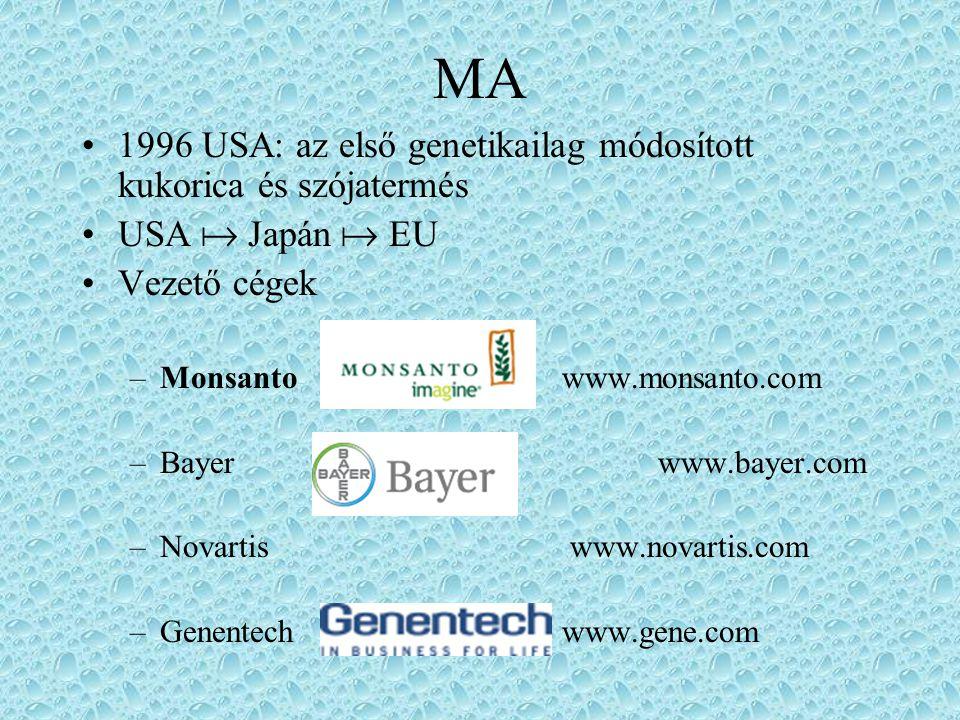 MA 1996 USA: az első genetikailag módosított kukorica és szójatermés USA  Japán  EU Vezető cégek –Monsanto www.monsanto.com –Bayer www.bayer.com –Novartis www.novartis.com –Genentechwww.gene.com