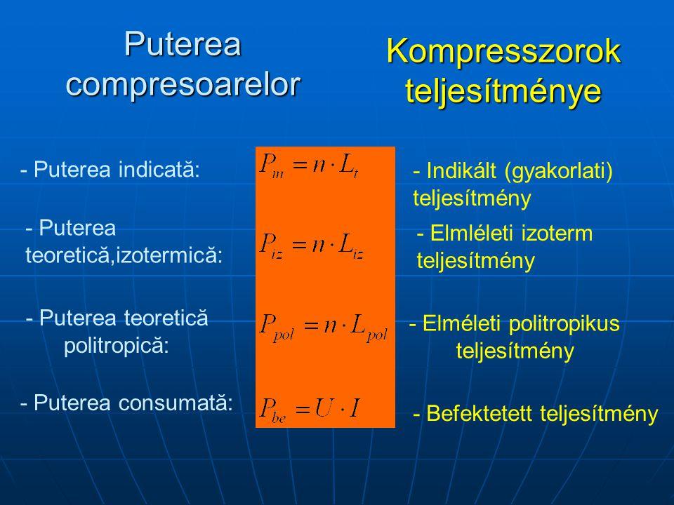 Puterea compresoarelor Kompresszorok teljesítménye - Puterea indicată: - Indikált (gyakorlati) teljesítmény - Puterea teoretică,izotermică: - Elmléleti izoterm teljesítmény - Puterea teoretică politropică: - Elméleti politropikus teljesítmény - Puterea consumată: - Befektetett teljesítmény