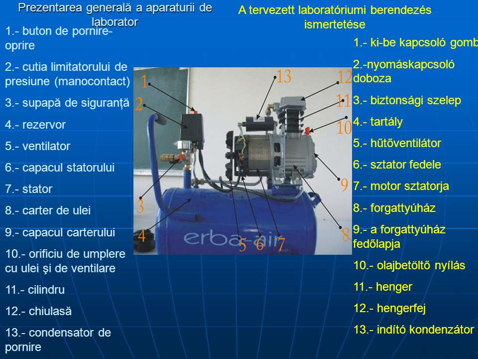 Prezentarea generală a aparaturii de laborator A tervezett laboratóriumi berendezés ismertetése 1.- buton de pornire- oprire 2.- cutia limitatorului d