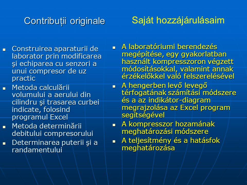Contribuţii originale Construirea aparaturii de laborator prin modificarea şi echiparea cu senzori a unui compresor de uz practic Construirea aparaturii de laborator prin modificarea şi echiparea cu senzori a unui compresor de uz practic Metoda calculării volumului a aerului din cilindru şi trasarea curbei indicate, folosind programul Excel Metoda calculării volumului a aerului din cilindru şi trasarea curbei indicate, folosind programul Excel Metoda determinării debitului compresorului Metoda determinării debitului compresorului Determinarea puterii şi a randamentului Determinarea puterii şi a randamentului A laboratóriumi berendezés megépítése, egy gyakorlatban használt kompresszoron végzett módosításokkal, valamint annak érzékelőkkel való felszerelésével A laboratóriumi berendezés megépítése, egy gyakorlatban használt kompresszoron végzett módosításokkal, valamint annak érzékelőkkel való felszerelésével A hengerben levő levegő térfogatának számítási módszere és a az indikátor-diagram megrajzolása az Excel program segítségével A hengerben levő levegő térfogatának számítási módszere és a az indikátor-diagram megrajzolása az Excel program segítségével A kompresszor hozamának meghatározási módszere A kompresszor hozamának meghatározási módszere A teljesítmény és a hatásfok meghatározása A teljesítmény és a hatásfok meghatározása Saját hozzájárulásaim