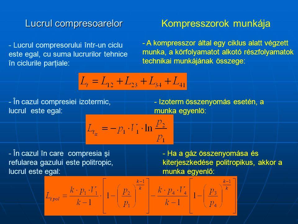 Lucrul compresoarelor Kompresszorok munkája - Lucrul compresorului într-un ciclu este egal, cu suma lucrurilor tehnice în ciclurile parţiale: - A kompresszor által egy ciklus alatt végzett munka, a körfolyamatot alkotó részfolyamatok technikai munkájának összege: - În cazul compresiei izotermic, lucrul este egal: - Izoterm összenyomás esetén, a munka egyenlö: - În cazul în care compresia şi refularea gazului este politropic, lucrul este egal: - Ha a gáz összenyomása és kiterjeszkedése politropikus, akkor a munka egyenlő:
