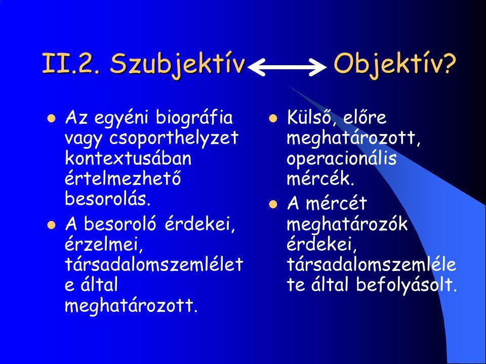 II.2. Szubjektív Objektív? Az egyéni biográfia vagy csoporthelyzet kontextusában értelmezhető besorolás. A besoroló érdekei, érzelmei, társadalomszeml