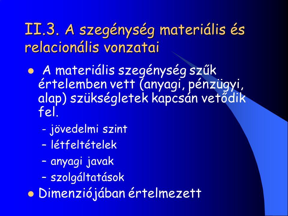 II.3. A szegénység materiális és relacionális vonzatai A materiális szegénység szűk értelemben vett (anyagi, pénzügyi, alap) szükségletek kapcsán vető