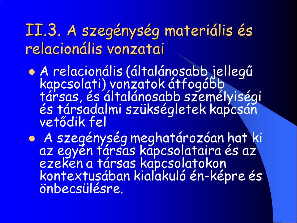 II.3. A szegénység materiális és relacionális vonzatai A relacionális (általánosabb jellegű kapcsolati) vonzatok átfogóbb társas, és általánosabb szem