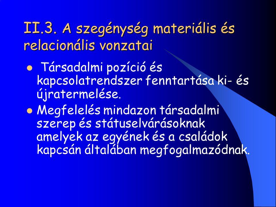 II.3. A szegénység materiális és relacionális vonzatai Társadalmi pozíció és kapcsolatrendszer fenntartása ki- és újratermelése. Megfelelés mindazon t