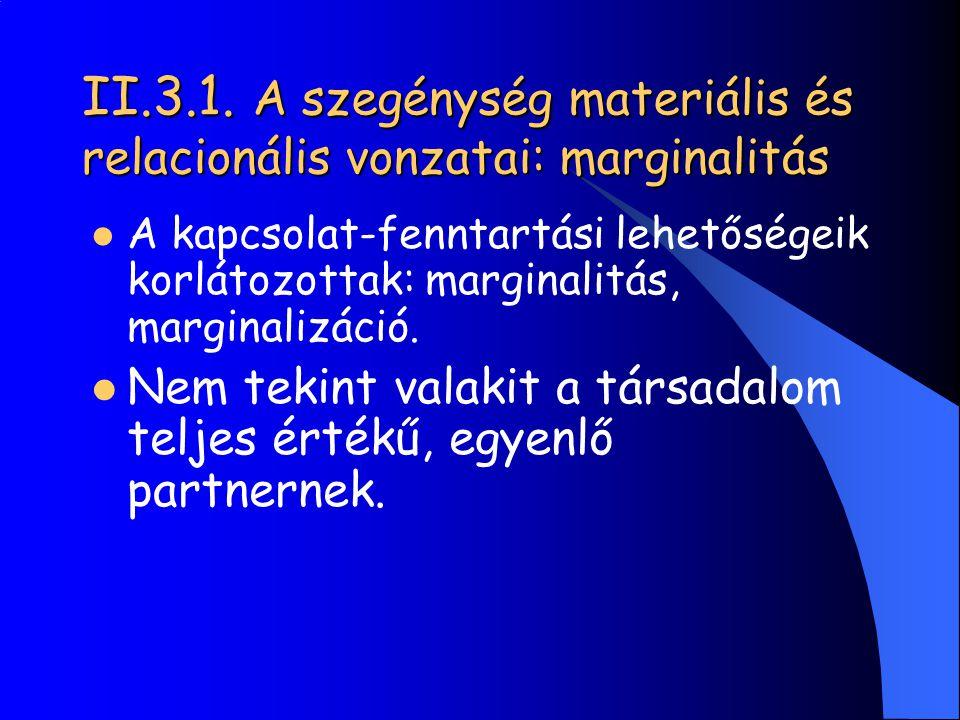 II.3.1. A szegénység materiális és relacionális vonzatai: marginalitás A kapcsolat-fenntartási lehetőségeik korlátozottak: marginalitás, marginalizáci