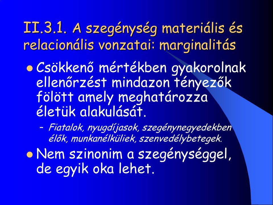 II.3.1. A szegénység materiális és relacionális vonzatai: marginalitás Csökkenő mértékben gyakorolnak ellenőrzést mindazon tényezők fölött amely megha