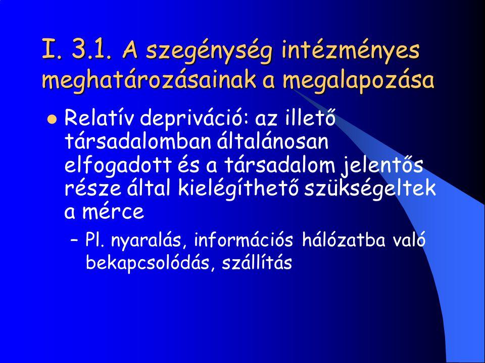 I. 3.1. A szegénység intézményes meghatározásainak a megalapozása Relatív depriváció: az illető társadalomban általánosan elfogadott és a társadalom j