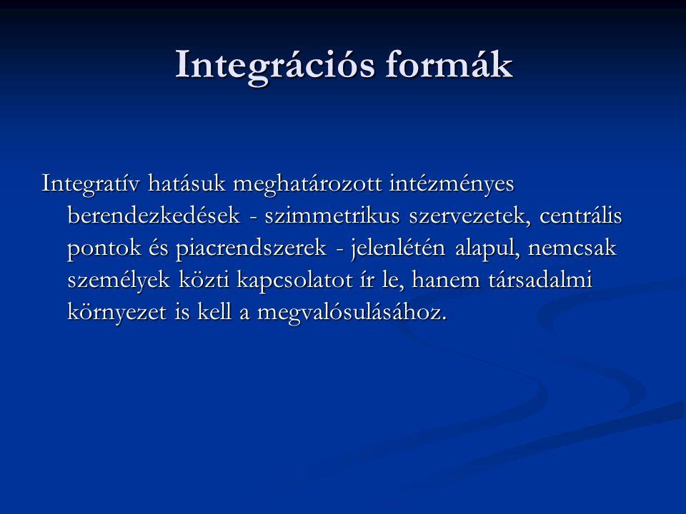 Integrációs formák Integratív hatásuk meghatározott intézményes berendezkedések - szimmetrikus szervezetek, centrális pontok és piacrendszerek - jelen
