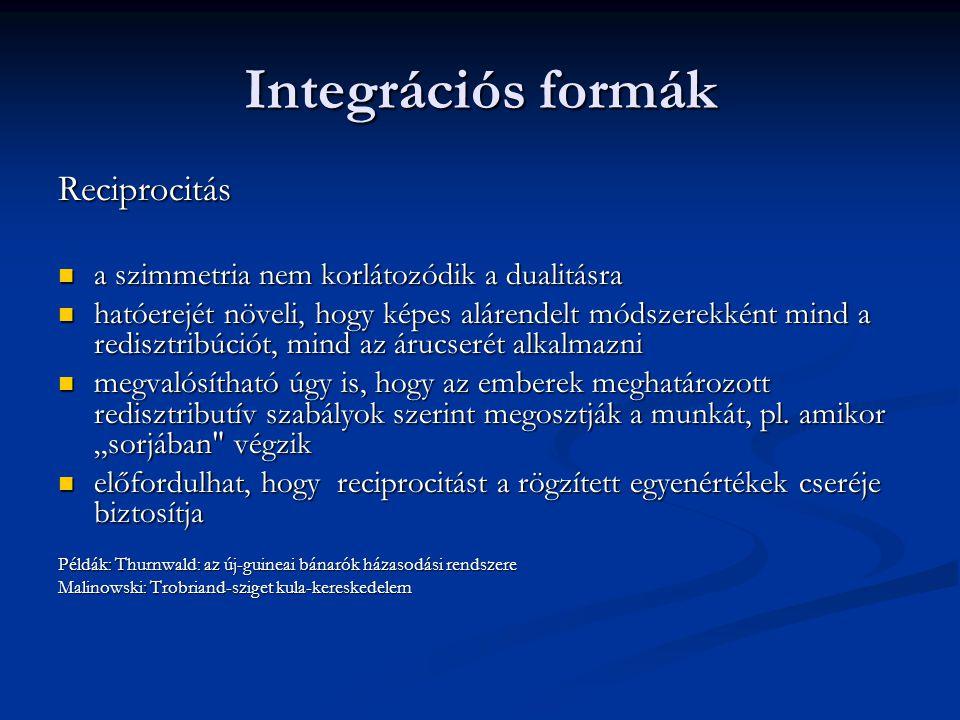 Integrációs formák Reciprocitás a szimmetria nem korlátozódik a dualitásra a szimmetria nem korlátozódik a dualitásra hatóerejét növeli, hogy képes al
