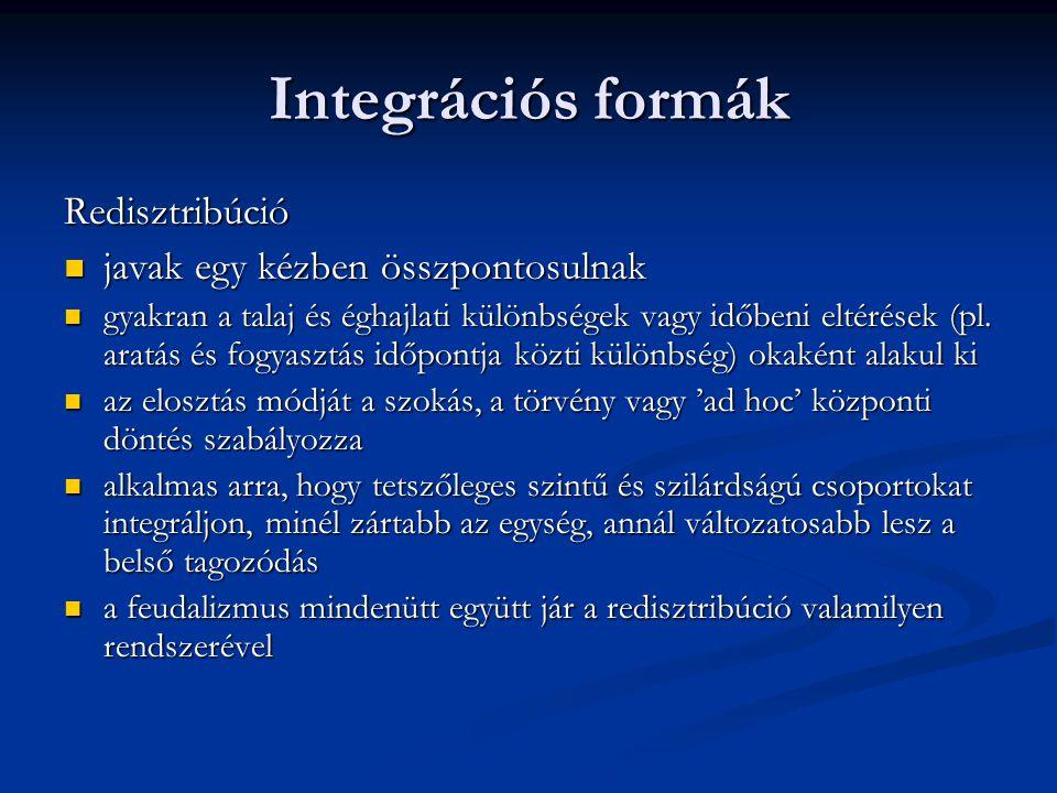 Integrációs formák Redisztribúció javak egy kézben összpontosulnak javak egy kézben összpontosulnak gyakran a talaj és éghajlati különbségek vagy időb