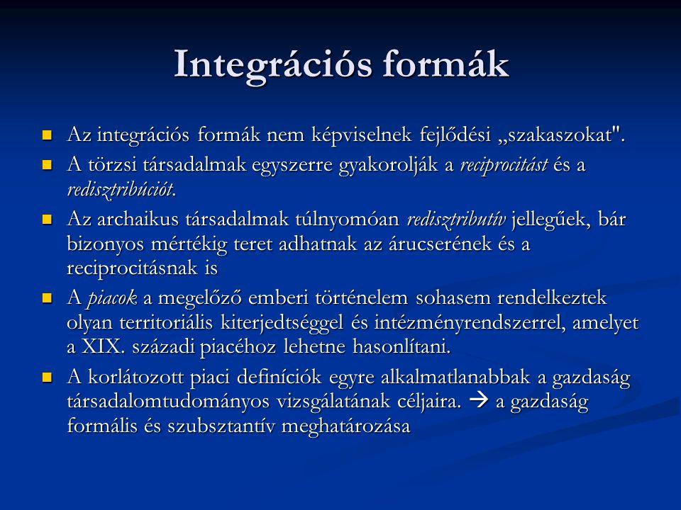 """Integrációs formák Az integrációs formák nem képviselnek fejlődési """"szakaszokat"""