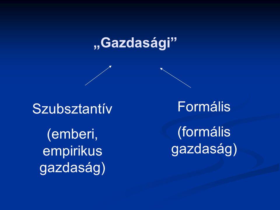 """""""Gazdasági"""" Szubsztantív (emberi, empirikus gazdaság) Formális (formális gazdaság)"""