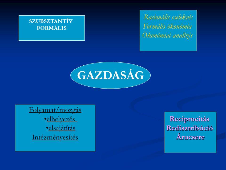 GAZDASÁG SZUBSZTANTÍV FORMÁLIS Racionális cselekvés Formális ökonómia Ökonómiai analízis Folyamat/mozgás elhelyezés elsajátítás Intézményesítés Recipr