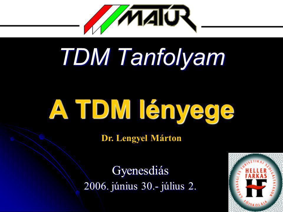 TDM Tanfolyam A TDM lényege Gyenesdiás 2006. június 30.- július 2. Dr. Lengyel Márton