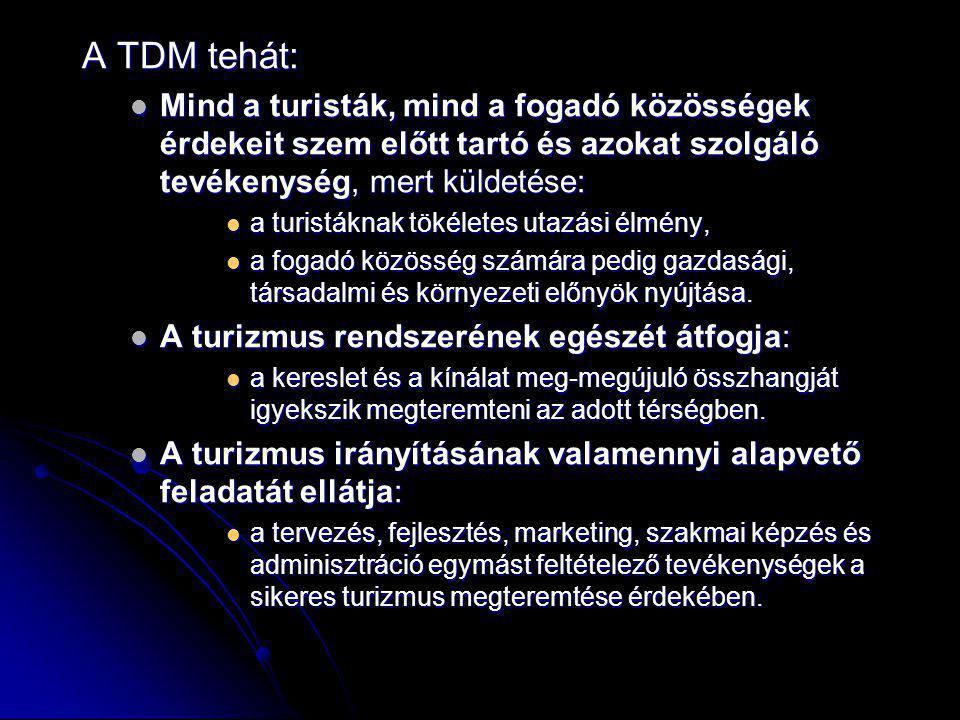 A TDM tehát: Mind a turisták, mind a fogadó közösségek érdekeit szem előtt tartó és azokat szolgáló tevékenység, mert küldetése: Mind a turisták, mind