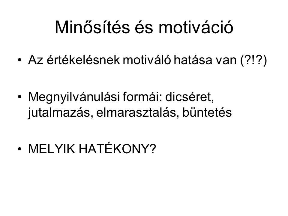 Minősítés és motiváció Az értékelésnek motiváló hatása van (?!?) Megnyilvánulási formái: dicséret, jutalmazás, elmarasztalás, büntetés MELYIK HATÉKONY