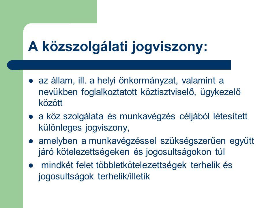 A közszolgálati jogviszony létesítésének jogi feltételei Általános jogi feltételek: magyar állampolgárság cselekvőképesség büntetlen előélet megfelelő egészségi állapot (egészségi és pszichikai alkalmasság) hozzátartozói együttalkalmazási tilalom