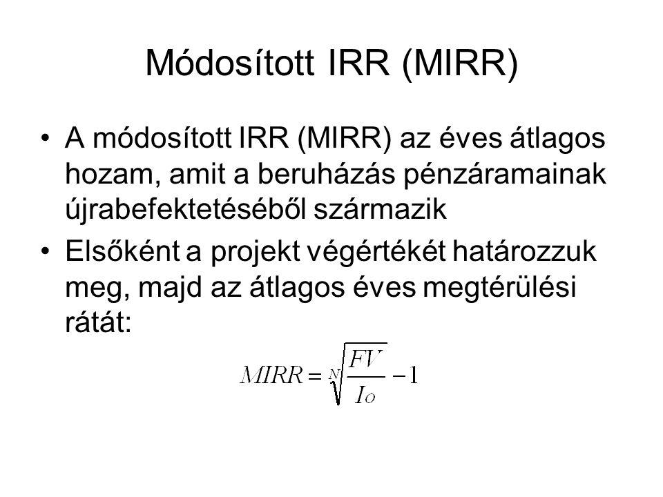 Módosított IRR (MIRR) A módosított IRR (MIRR) az éves átlagos hozam, amit a beruházás pénzáramainak újrabefektetéséből származik Elsőként a projekt végértékét határozzuk meg, majd az átlagos éves megtérülési rátát: