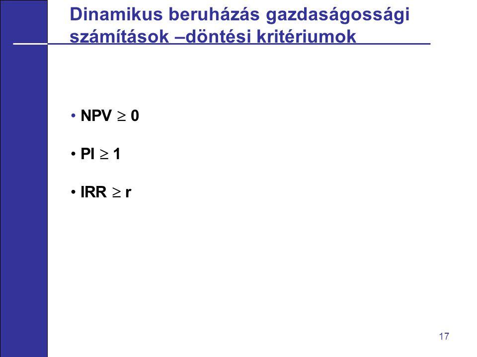 Dinamikus beruházás gazdaságossági számítások –döntési kritériumok 17 NPV  0 PI  1 IRR  r