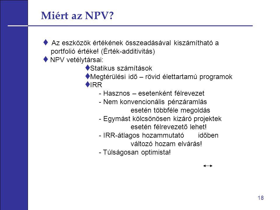 Miért az NPV.♦ Az eszközök értékének összeadásával kiszámítható a portfolió értéke.