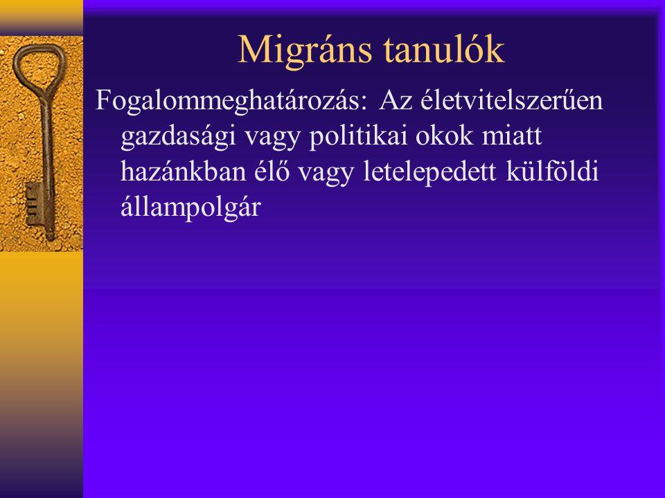 Migráns tanulók Fogalommeghatározás: Az életvitelszerűen gazdasági vagy politikai okok miatt hazánkban élő vagy letelepedett külföldi állampolgár