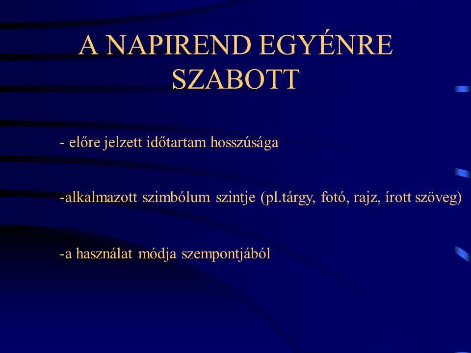 A NAPIREND EGYÉNRE SZABOTT - előre jelzett időtartam hosszúsága -alkalmazott szimbólum szintje (pl.tárgy, fotó, rajz, írott szöveg) -a használat módja