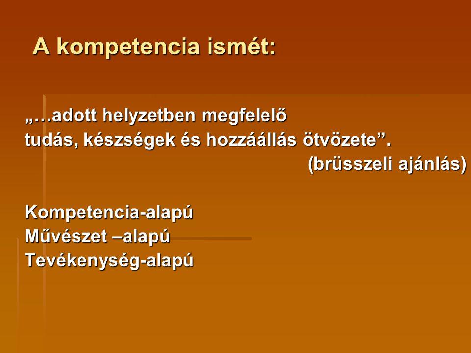 """A kompetencia ismét: """"…adott helyzetben megfelelő tudás, készségek és hozzáállás ötvözete"""". (brüsszeli ajánlás) Kompetencia-alapú Művészet –alapú Tevé"""