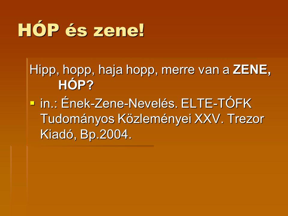 HÓP és zene! Hipp, hopp, haja hopp, merre van a ZENE, HÓP?  in.: Ének-Zene-Nevelés. ELTE-TÓFK Tudományos Közleményei XXV. Trezor Kiadó, Bp.2004.